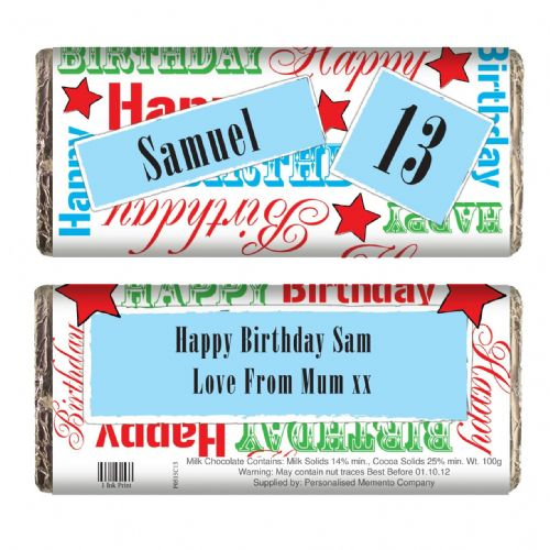 Personalised Blue Happy Birthday Chocolate Bar